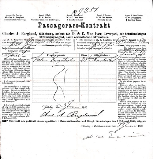 Cunard Line Steerage Passage Contract for Passage from Gothenburg to Boston Dated 4 June 1880.