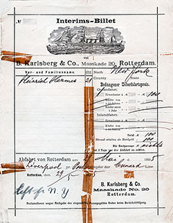 1895 Dutch Steerage Passage Contract on the Cunard Line for a German Immigrant. The Voyage Took Him from Rotterdam to New York via Liverpool.