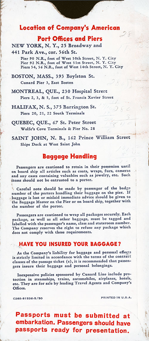 Back Side, Cunard Line Tourist Class Passage Ticket for Passage on the SS Queen Mary, Departing from New York for Southampton Dated 7 February 1953.