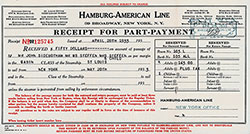 Hamburg America Line Receipt For $50 Part-Payment for Cabin Class Passage on the SS St Louis