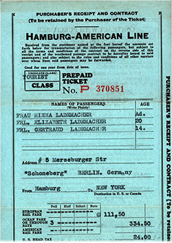 Front Side, Hamburg America Line Purchaser's Receipt and Contract for Prepaid Ticket and Passage