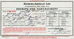 Hamburg America Line Receipt for Part-Payment for Third Class Passage on the SS New York