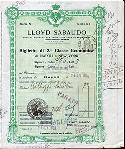 Second Class Passage Ticket - Italian Immigrant - 1930