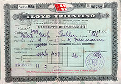 Lloyd Triestino Tourist Class Passage Ticket for a Voyage on the SS Galilea, Departing from Trieste for Haifa Dated 11 September 1936.