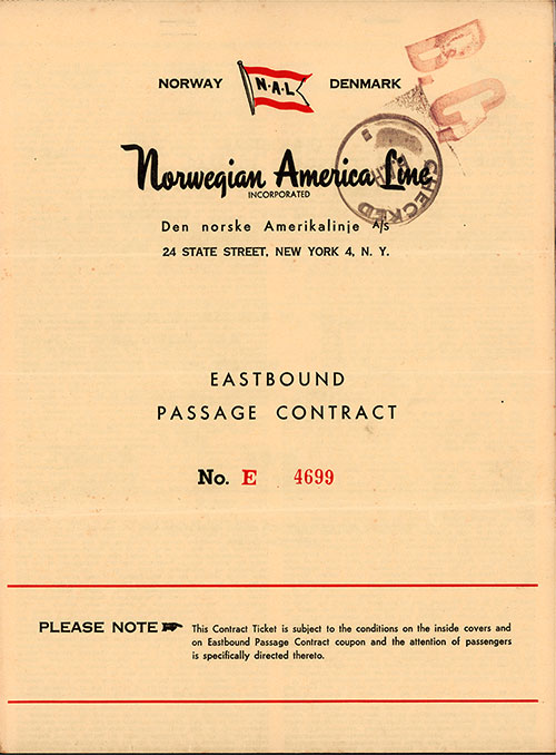 Front Cover, Eastbound Passage Contract No. E 4699 from the Norwegian America Line dated 29 June 1953