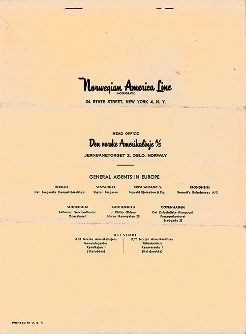 Back Cover, Eastbound Passage Contract No. E 4699 from the Norwegian America Line to Sail on the SS Stavangerfjord on 14 July 1953.