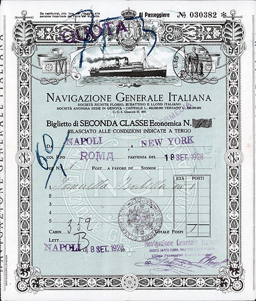 Navigazione Generale Italiana Second Class Passage Contract for Passage on the SS Roma, Departing from Naples to New York Dated 18 September 1928.