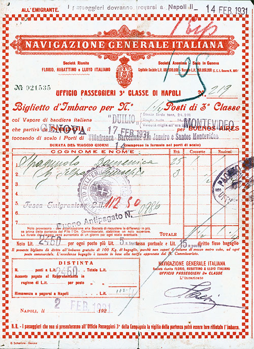 Navigazione Generale Italiana Third Class Passage Ticket for Passage on the SS Duilio, Departing from Genova for Buenos Aires