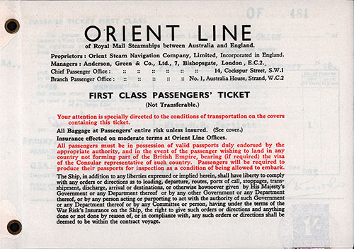 Terms and Conditions 2, Orient Line First Class Passage Ticket for Passage on the SS Orion, Departing from Sydney for Tilbury Dated 7 February 1948.