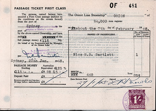 Orient Line First Class Passage Ticket for Passage on the SS Orion, Departing from Sydney for Tilbury Dated 7 February 1948.