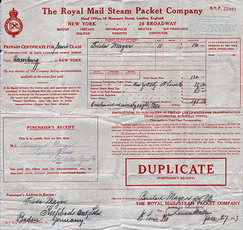 Example of a Steamship Ticket
