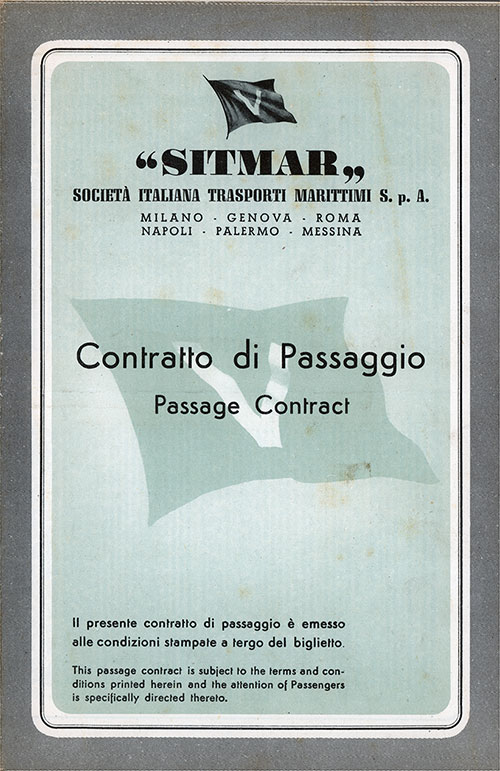 Front Cover, SITMAR Passage Contract Ticket for Passage on the SS Castel Felice, Departing from Le Havre to New York Dated 1 September 1956.