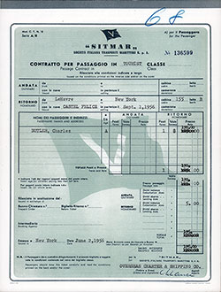 SITMAR Passage Contract Ticket for Passage on the SS Castel Felice, Departing from Le Havre to New York Dated 1 September 1956.