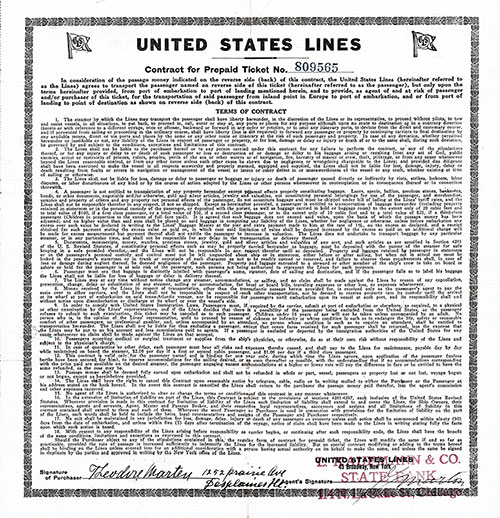 Contract Terms and Conditions - 1922 USL Cabin Class Ticket