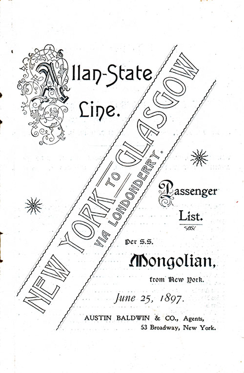 Front Cover: Cabin Class Passenger List for the SS Mongolian of the Allan Line Dated 25 January 1897.