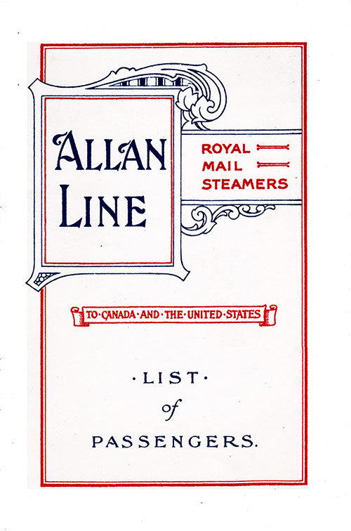 Front Cover: Cabin Class Passenger List for the RMS Pretorian of the Allan Line Dated 7 September 1912.