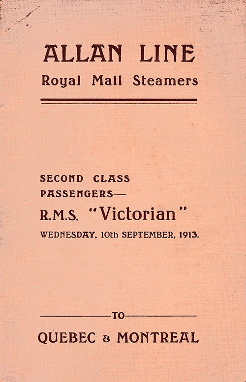 Front Cover: Second Class Passenger List for the RMS Victorian of the Allan Line Dated 10 September 1913.