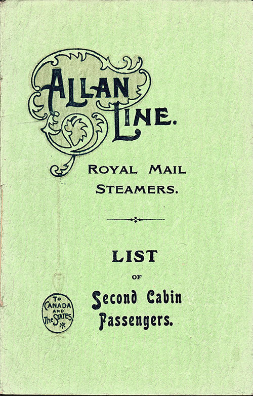 Front Cover, Second Cabin Passenger Passenger List from the RMS Virginian - 1906-09-14.