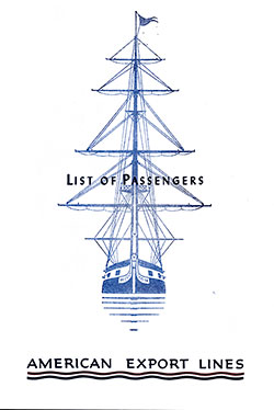 1954-08-14 Passenger List for S.S. Independence
