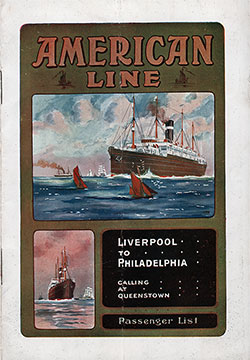 Front Cover of a Cabin Passenger List from the SS Dominion of the American Line, Departing 17 September 1913
