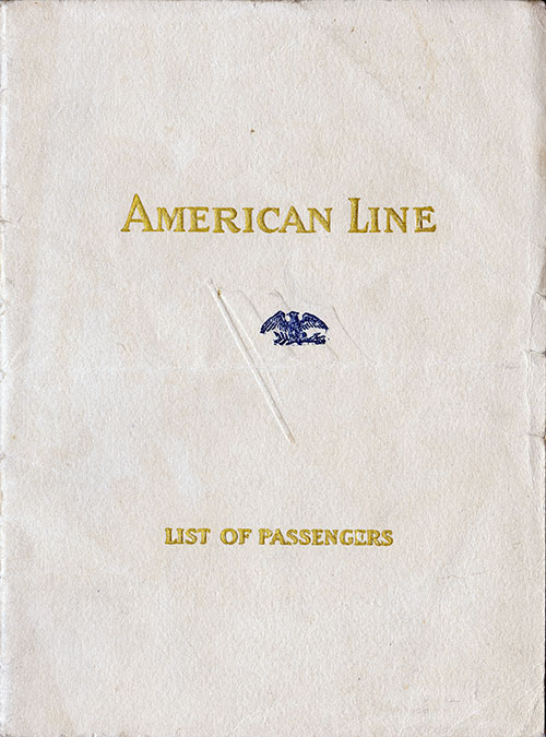 Front Cover: Cabin Class Passenger List for the SS Manchuria of the American Line Dated 28 June 1923.