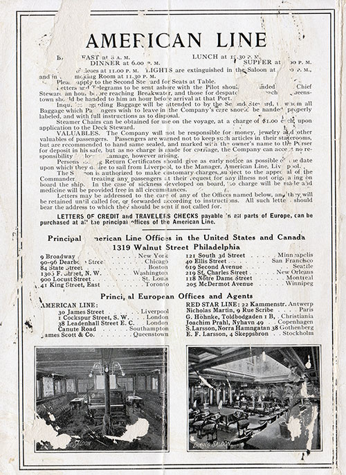 Back Cover: Second Class Passenger List for the SS Merion of the American Line Dated 2 July 1910.