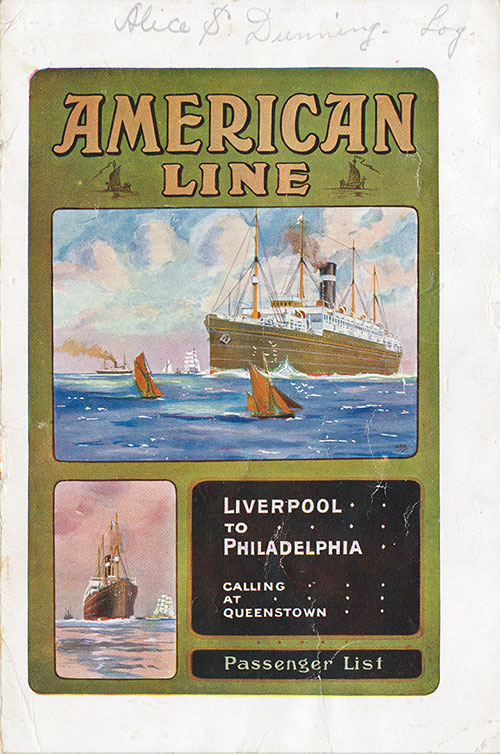 Front Cover: Cabin Class Passenger List for the SS Merion of the American Line Dated 27 August 1913.