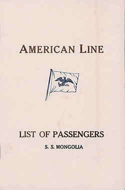 Front Cover, American Line SS Mongolia Cabin Class Passenger List - 12 November 1921.
