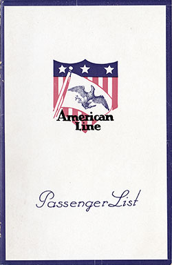 Passenger Manifest Cover, August 1924 Westbound Voyage - S.S. Mongolia