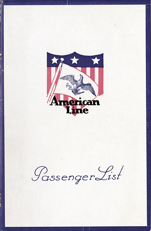 Passenger List Cover, August 1924 Westbound Voyage - S.S. Mongolia