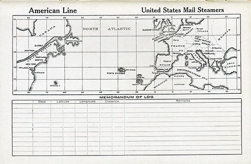 Back Cover: Track Chart and Memorandum of Log (Unused) on the Cabin Class Passenger List for the SS Mongolia of the American Line Dated 30 August 1924.