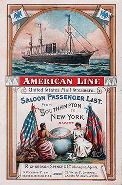 Front Cover, Saloon Class Passenger List for the 3 June 1993 Voyage of the SS New York of the American Line.