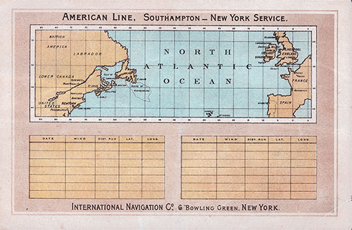 Track Chart on the Back Cover, Saloon Class Passenger List for the 3 June 1993 Voyage of the SS New York