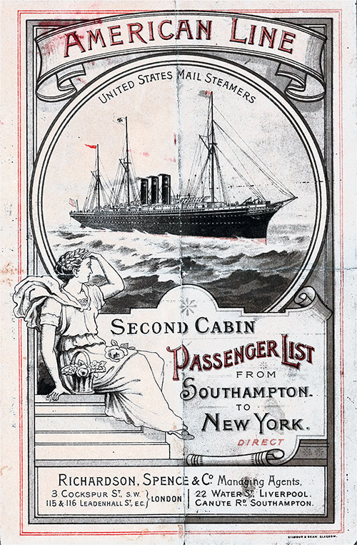 Front Cover: Second Cabin Passenger List for the SS New York of the American Line Dated 19 August 1893.