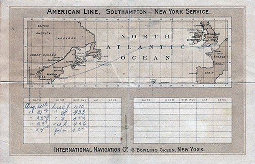 Back Cover: Track Chart and Memorandum of Log (Extract) - Second Class Passenger List for the SS New ork of the American Line Dated 19 August 1893.