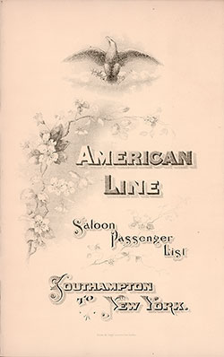 29 September 1896 Passenger Manifest for the S.S. New York