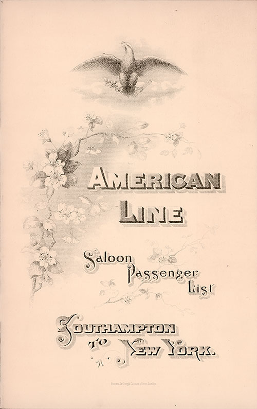 Front Cover - 29 September 1896 Passenger List, S.S. New York, American Line