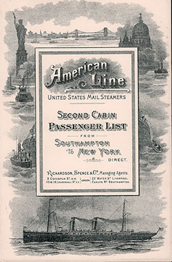 Passenger Manifest for the Cover, November 1896 Westbound Voyage - S.S. New York