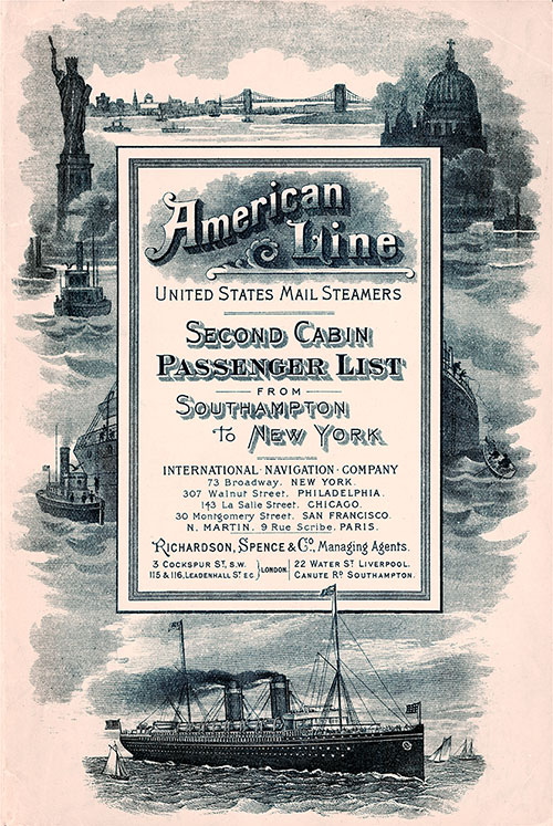 Front Cover: Second Cabin Passenger List for the SS New York of the American Line Dated 8 September 1900.