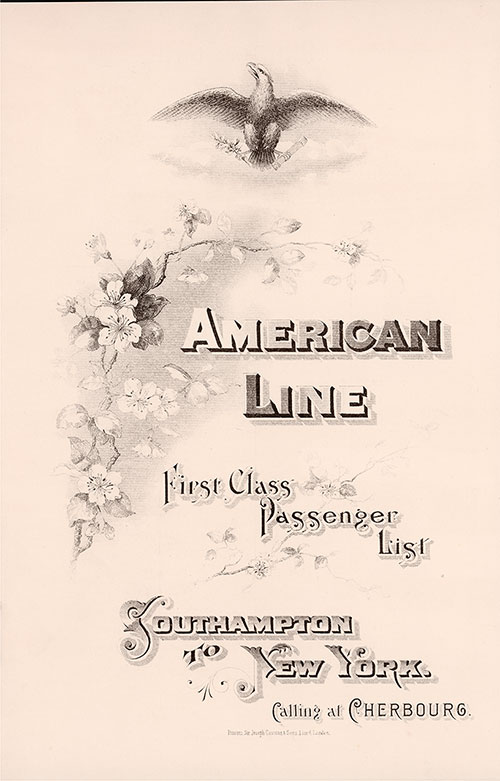 Front Cover: First Class Passenger List for the SS New York of the American Line Dated 27 February 1904.