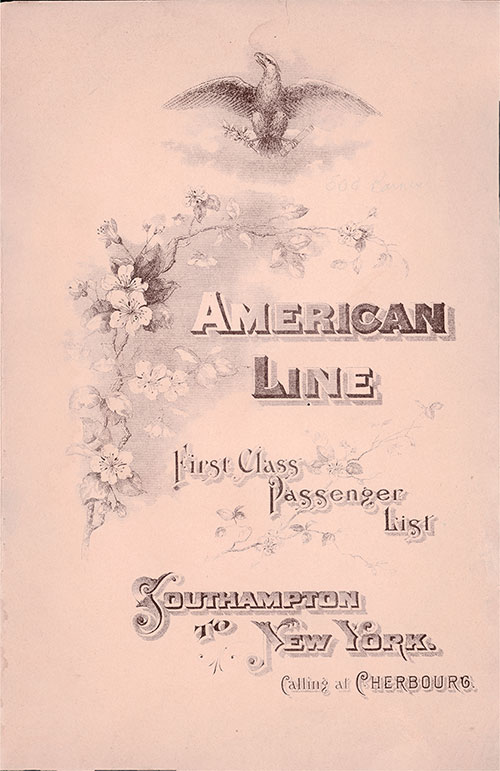 Front Cover - 23 September 1905 Passenger List, S.S. New York, American Line