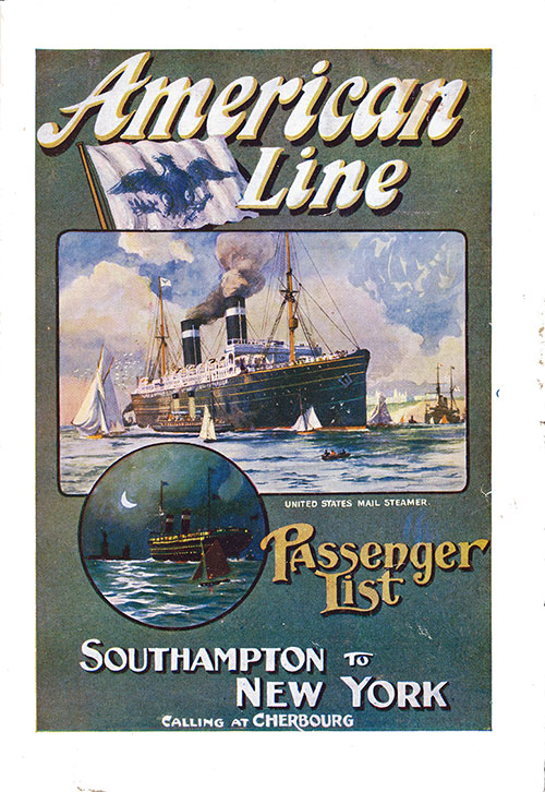 Passenger List Cover, August 1910 Westbound Voyage - S.S. New York