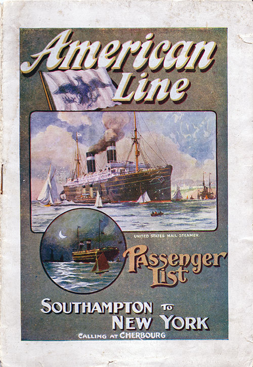 Passenger List Cover, September 1911 Westbound Voyage - SS New York