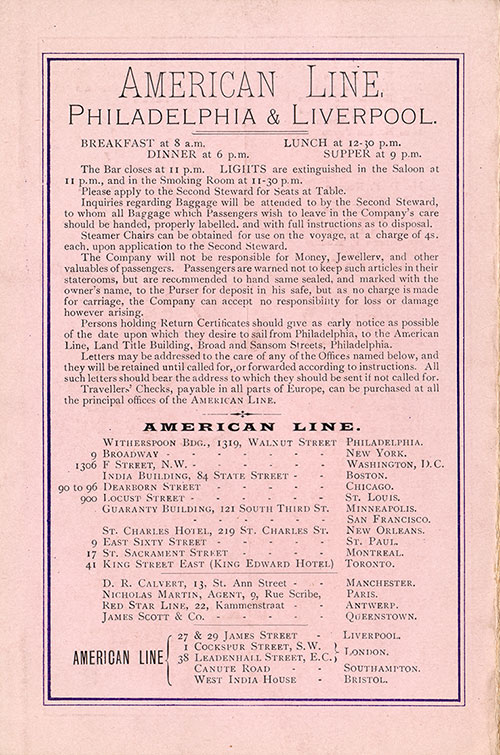 Back Cover: Second Class Passenger List for the SS Noordland of the American Line Dated 22 August 1906.