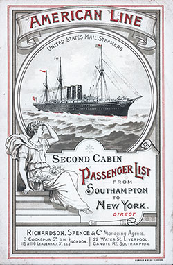 Passenger Manifest for the Cover, September 1895 Westbound Voyage - S.S. Paris