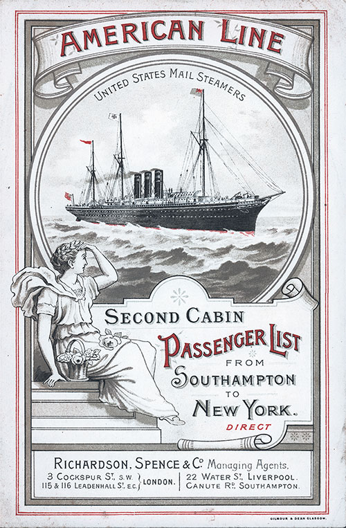 Front Cover Second Cabin Passenger List for the SS Paris of the American Line Dated 7 September 1896.