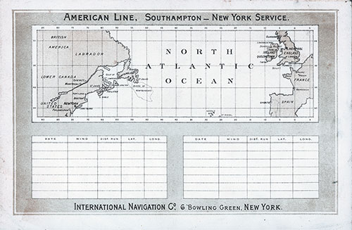 Back Cover Track Chart and Memorandum of Log (Unused) from the Second Cabin Passenger List for the SS Paris of the American Line Dated 7 September 1896.