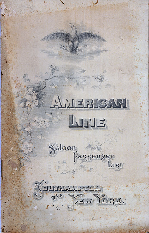 Front Cover: Saloon Class Passenger List for the SS Paris of the American Line Dated 15 August 1896.