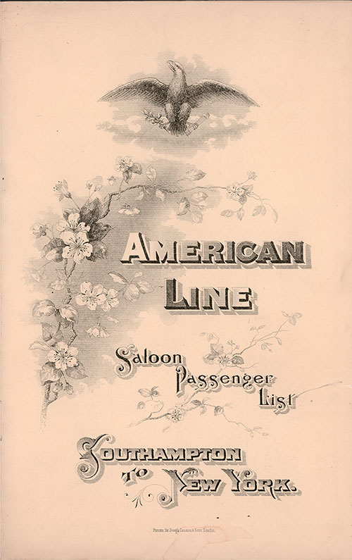 Front Cover: Saloon Class Passenger List for the SS Paris of the American Line Dated 5 September 1896.