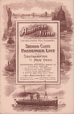 Front Cover, Second Class Passenger List for the 3 June 1993 Voyage of the SS Philadelphia of the American Line.